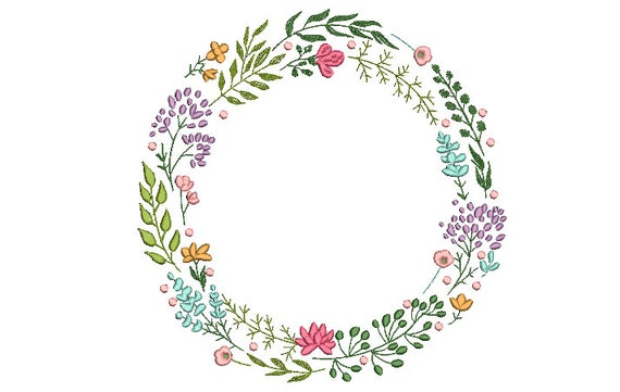 Boho Wildflower Wreath  Embroidery Design - Machine Embroidery File design  - JUMBO hoop 12 x 12 inches  - Instant download