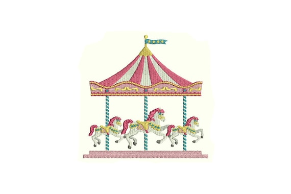 Carousel Embroidery - Machine Embroidery Horse Carousel Carnival Circus Machine Embroidery File design 5x7 hoop - Instant Download