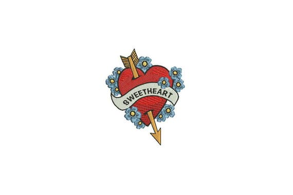 Sweetheart Embroidery - Forget Me Nots Tattoo Retro Machine Embroidery File design 4 x 4 inch hoop - instant download