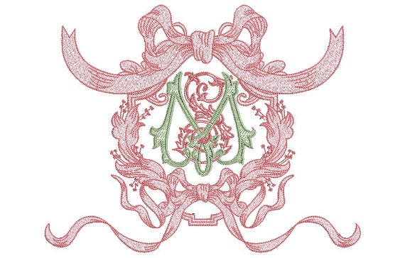Antique Bow Frame Machine Embroidery File design -  8x12 inch hoop - Monogram Frame