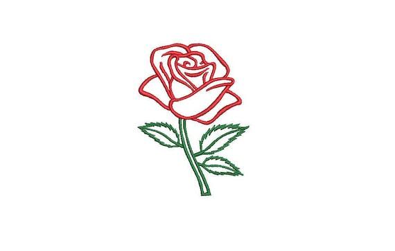 Rose Outline Machine Embroidery File design - 4 x 4 inch hoop - Rose Stem