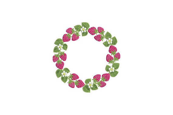 Wreath Embroidery - Machine Embroidery Whimsical Strawberry Flower Wreath Machine Embroidery File design 5x7 inch hoop Instant Download