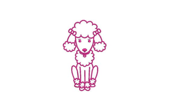Pink Poodle Outline Machine Embroidery File design 4x4 inch hoop - instant download