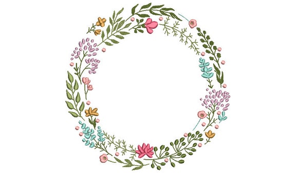 Boho Wildflower Wreath Embroidery - Machine Embroidery File - design 8x8 inch hoop - Monogram frame