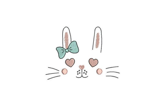 Machine Embroidery - Bunny Love with Bow -  Sketch design -Embroidery File design - 4x4 inch hoop