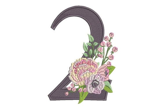Number 2 - TWO - Bouquet - Second Birthday-  Machine Embroidery File design - 5x7 hoop - embroidery design