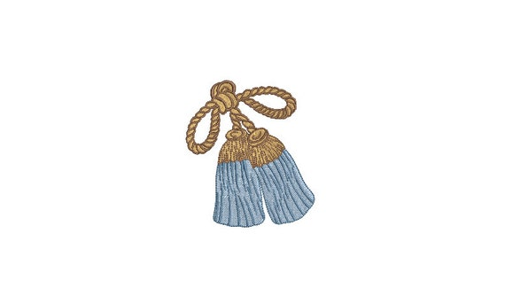Blue Bow Tassels Machine Embroidery File design - 4x4 inch hoop - instant download