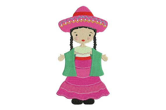 Bohemian Mexican Folksy Girl with Pink Dress Machine Embroidery File design 5 x 7 inch hoop - instant download