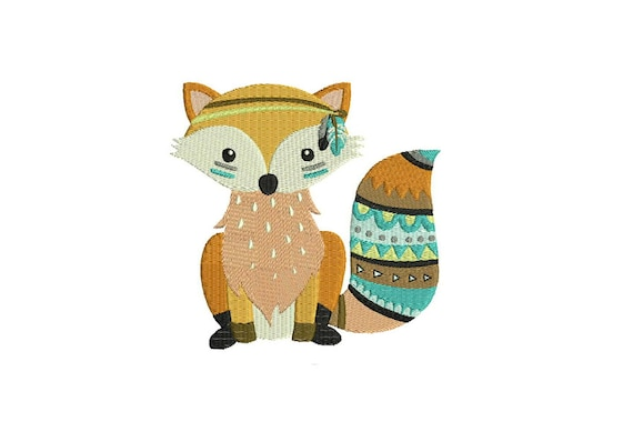 Machine Embroidery Cute Boho Fox Machine Embroidery File design 5x7 inch hoop - Instant Download