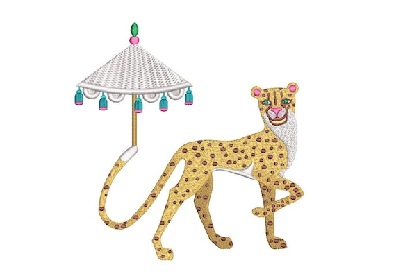 Cheetah Parasol - Machine Embroidery File design - 6x10 inch hoop - Instant download - Chinoiserie Chic