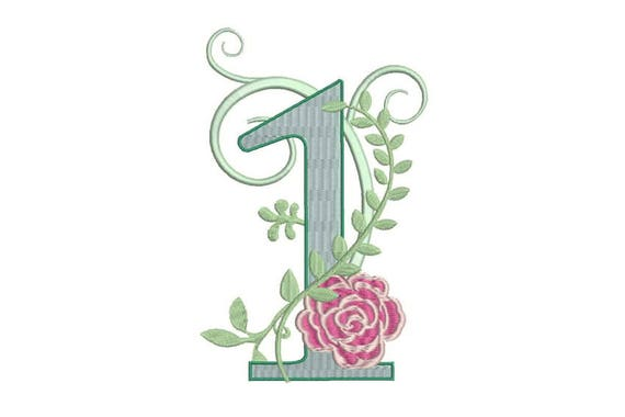 Number 1 - ONE - Rose - First Birthday-  Machine Embroidery File design - 5x7 hoop - embroidery design