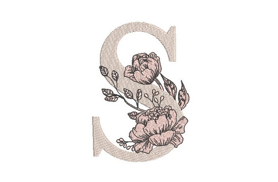 Letter S with flowers Machine Embroidery File design - 5 x 7 inch hoop - Monogram design