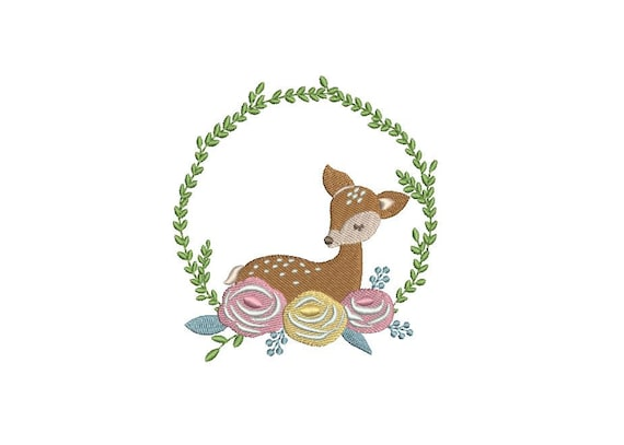 Deer & Flowers Frame Machine Embroidery File design 4x4 inch hoop