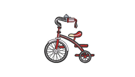 Red Tricycle Bike Machine Embroidery File design - 4x4 inch hoop  - instant download - 10cm x 10cm hoop