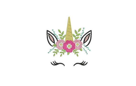 Machine Embroidery Unicorn Face Flowers Machine Embroidery File design 4x4 inch hoop