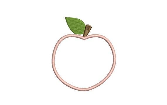 Peach Appliqué Machine Embroidery File design - 4 x 4 inch hoop - Instant Download