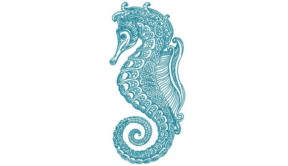 Detailed Seahorse Embroidery Design - Redwork Machine Embroidery File design - 5x7 hoop - instant download
