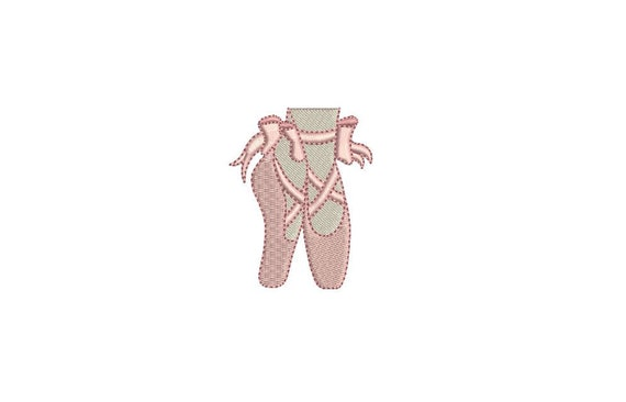Pointe Shoes Mini Bow Ballet Slippers Machine Embroidery File design 4x4 hoop - 6cm
