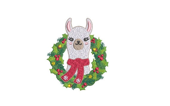 Llama Wreath Christmas Embroidery - Machine Embroidery File design - 4x4 inch hoop - instant download - Xmas Design