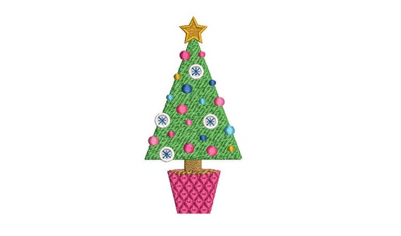 Chinoiserie Xmas Tree - Machine Embroidery File design - 4 x 4 inch hoop - Christmas Tree Embroidery