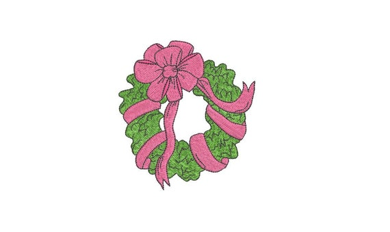 Simple Bow Wreath Christmas Embroidery - Machine Embroidery File design - 4x4 inch hoop - Christmas Embroidery Design