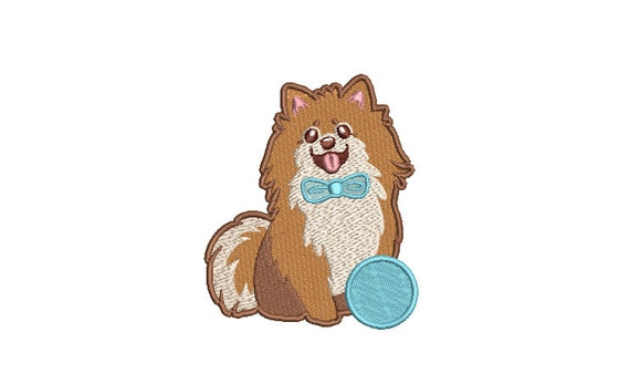 Pomeranian Machine Embroidery File design - 4x4 inch hoop - Dog Embroidery Design - Instant download