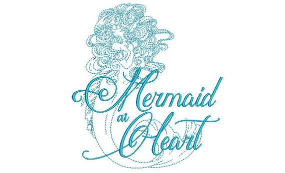 Mermaid at Heart Machine Embroidery File design -  20cm x 20cm hoop - instant download 8 x 8 inches