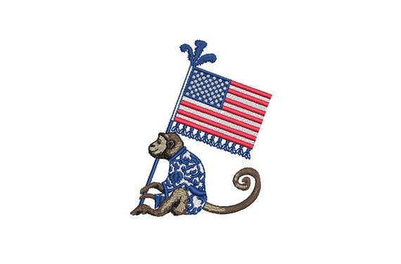 Chinoiserie Monkey with USA Flag Machine Embroidery File design - 4x4 inch hoop - 4th of July Embroidery Design - Instant Download