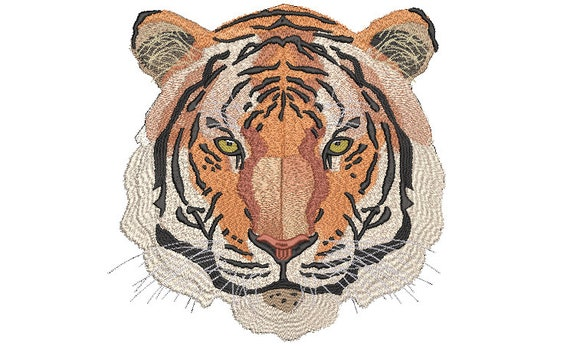 Tiger Embroidery Design - Realistic Machine Embroidery File design  - JUMBO hoop - Instant download