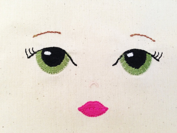 ITH In The Hoop Handmade look Pretty Doll Face  -Machine Embroidery File design - 4x4 inch hoop