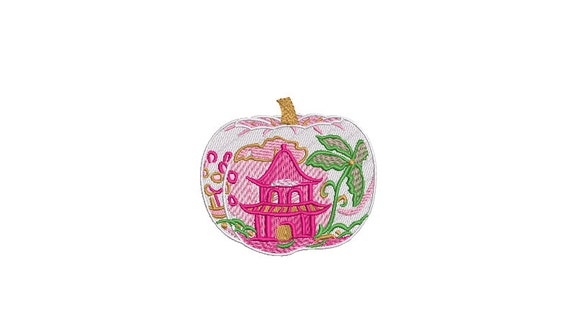 Chinoiserie Chic Painted Pagoda - Pumpkin Machine Embroidery design - 4x4 hoop - instant download