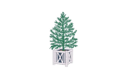 Hamptons Xmas Tree - Machine Embroidery File design - 4 x 4 inch hoop - Christmas Tree Embroidery