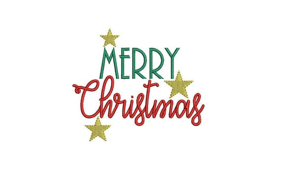 Merry Christmas Embroidery - Xmas Stars Silhouette Machine Embroidery File design 4x4 inch hoop