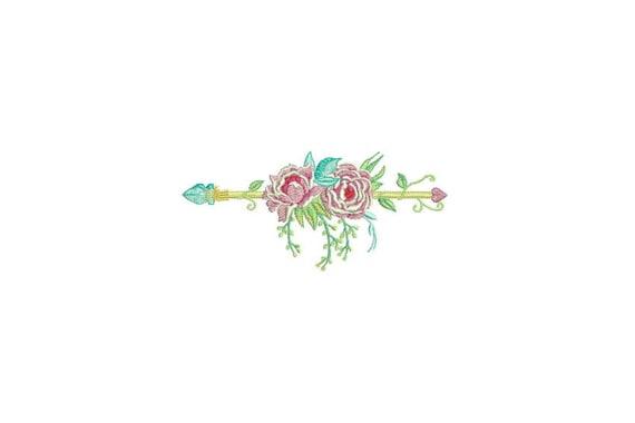 Boho Peony Flower Arrow Machine Embroidery File design 5x7 inch hoop