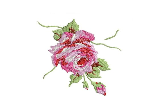 Rose Embroidery -Machine Embroidery Whimsical Vintage Rose Machine Embroidery File design 4 x 4 inch hoop