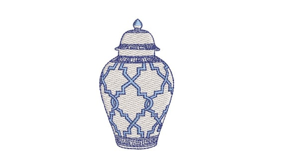 Chinoiserie Chic Patterned Ginger Jar - Filled Machine Embroidery File design  - 4x4 hoop - 7.5cm tall