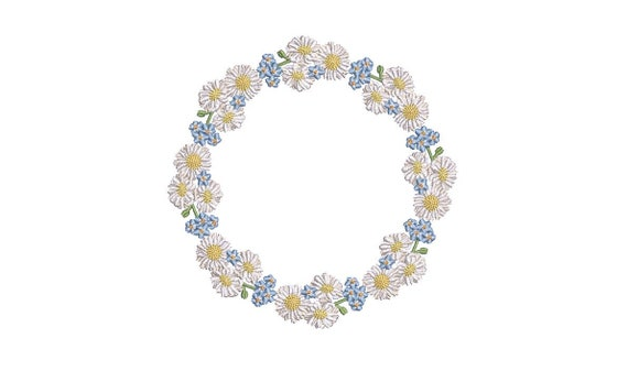 Forget Me Not - Daisy - Wreath Machine Embroidery File design 5x7 inch hoop - monogram frame - instant download