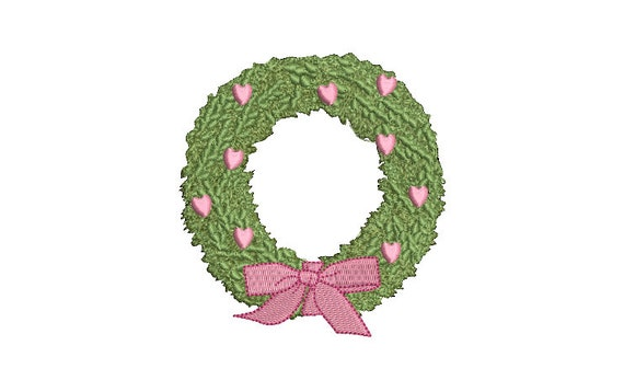 Heart Bow Wreath Embroidery - Machine Embroidery File - design 4x4 inch hoop - Monogram frame