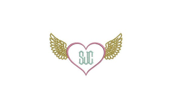 Heart Wings Monogram Tattoo Retro Machine Embroidery File design 4 x 4 inch hoop - instant download