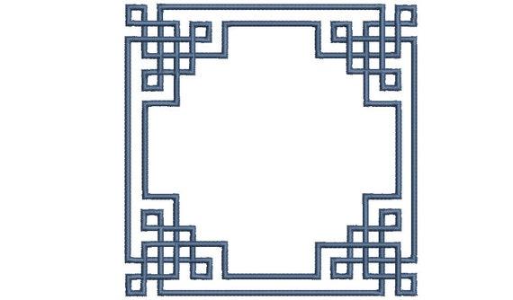 Greek Key Detailed Square Monogram Frame -  Machine Embroidery File design -  5x7 hoop - Square Border Frame