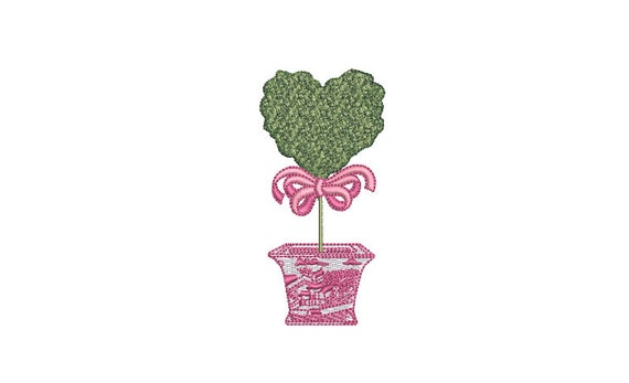 Chinoiserie Heart Topiary Tree Embroidery Design -  Machine Embroidery File design - 4 x 4 inch hoop - Instant Download