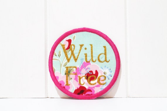 Whimsical Wild And Free Patch Badge Machine Embroidery File design 4 x 4 inch hoop