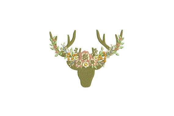 Boho Whimsical Deer Antlers With Peachy Flowers Bohemian Machine Embroidery File design 5x7 hoop