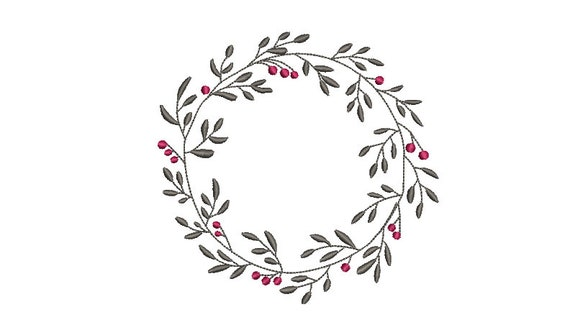 Christmas Embroidery Design - Holly Leaf Wreath - Machine Embroidery File - design 5x7 inch hoop - Monogram frame