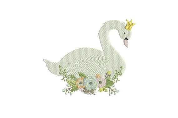 Swan & Flowers Machine Embroidery File design 6x10 inch or 16x26cm hoop