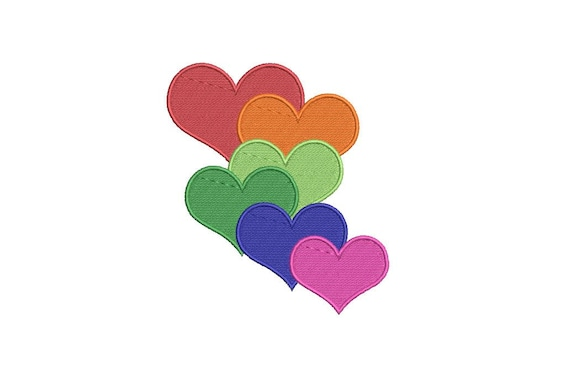Rainbow Hearts embroidery design -  Machine Embroidery File design 4 x 4 inch hoop - Instant download