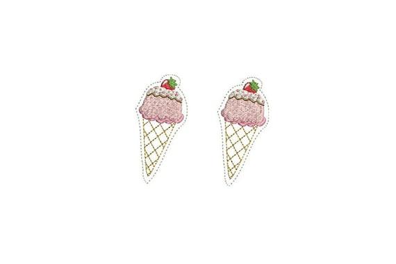 Whimsical - Kawaii - Strawberry Ice Cream Cone Felties - Machine Embroidery File design - 4 x 4 inch hoop - icecream embroidery - felty