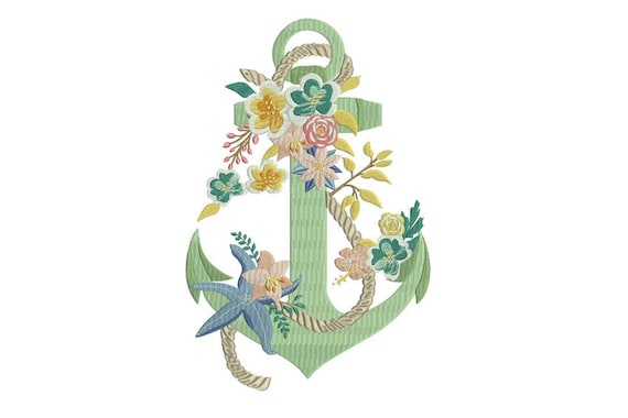 Machine Embroidery Bohemian Anchor Flowers Starfish Machine Embroidery File design 8x12inch hoop