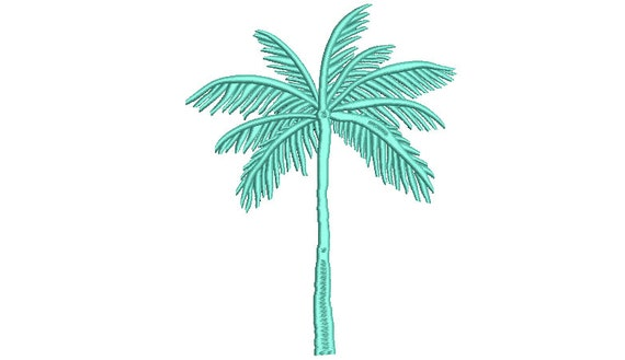 Palm Tree Machine Embroidery File design - 6 x 10 inch hoop - Palm Silhouette