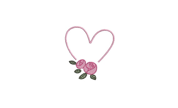 Heart Roses  - Machine Embroidery File design 3 x 3 inch hoop - instant download - Monogram frame